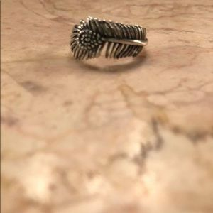Jewelry - Oxidized sterling peacock feather ring